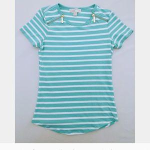 Michael Kors Turquoise Striped Tee